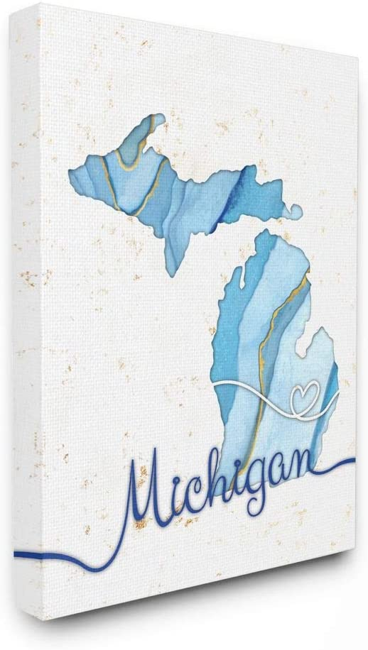 Stupell Industries Michigan Agate Blue price Max 54% OFF Design State Artis US by
