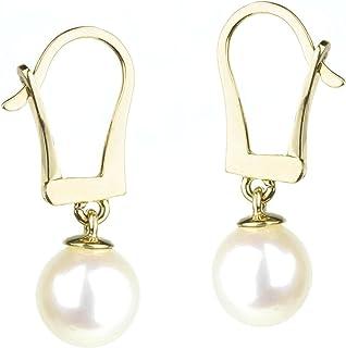 HinsonGayle AAA GEM 7.5-8mm White Freshwater Cultured Pearl Leverback Dangle Earrings 14K Y Gold