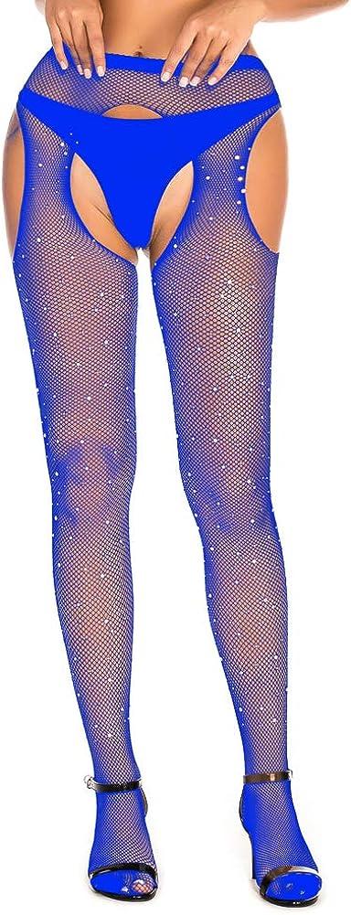 SAKUXI Sparkle Rhinestone Fishnets Bra & Fishnets Mesh Stockings Lingerie Sets High Waist Tight Pantyhose Stockings