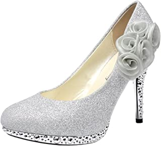 Getmorebeauty Women's Pumps with Rose Flower Crystal Glitter Silver Wedding Shoes High Heel
