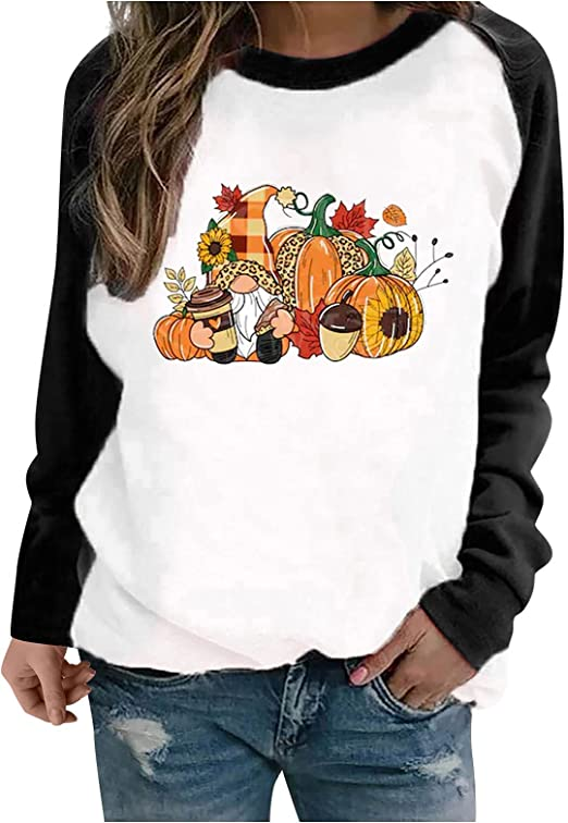 Women's Halloween Pumpkin Witch Print Swearshirt O-Neck Stitching Loose Casual Pullover Fashion Long Sleeve Skull Tops