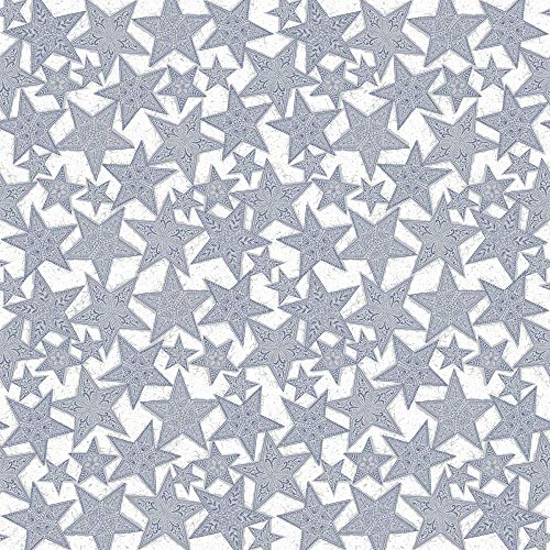 Sovie HORECA Tischdecke | aus Linclass® Airlaid | Weihnachtssterne Mitteldecke Einweg | 80 x 80 cm | 20 Stück | Gitte (Silber-Blau)