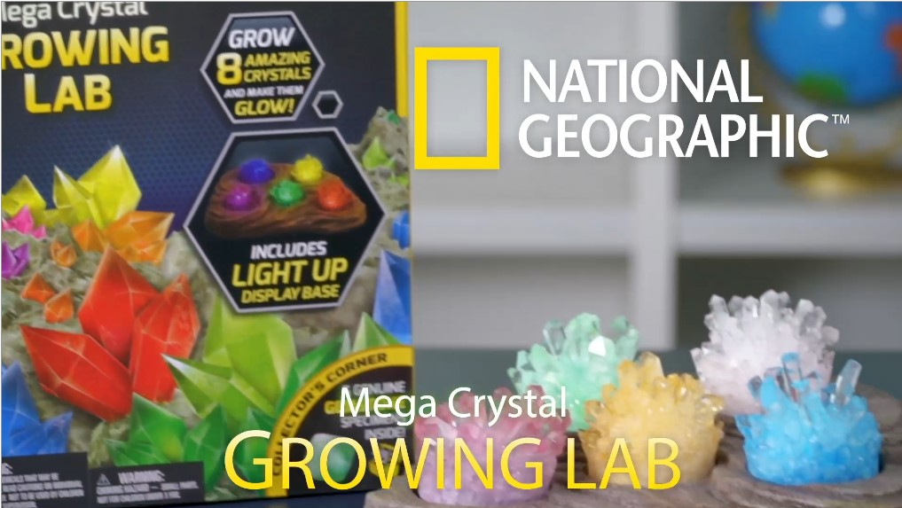 NATIONAL GEOGRAPHIC Mega Crystal Growing Lab – Grow 6 Vibrant Crystals Fast (3-4 Days), with Light-Up Display Stand…