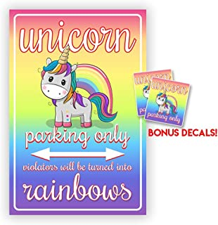 IT'S A SKIN Unicorn Parking Only Sign Made Voilators Will be Turned into Rainbows, 8x11.3/4 Gift for Girls, Bedroom Decor,Funny Signs - Includes 2 Free Unicorn Stickers