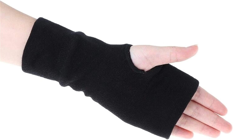 FASGION 2020 New Black Fashion Unisex Men Women Winter Gloves Soft Warm Mitten Knitted Fingerless Solid Black Soft (Color : Black, Size : One Size)