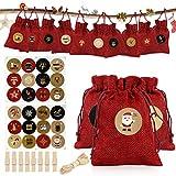 Adventskalender zum Befüllen,Weihnachten Geschenksäckchen,Fabric Advent Calendar mit 24...