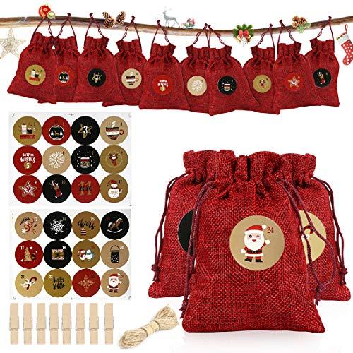 Adventskalender zum Befüllen,Weihnachten Geschenksäckchen,Fabric Advent Calendar mit 24 Zahlenaufklebern für Weihnachten zum Basteln DIY Adventskalender Stoffbeutel Jutesäckchen Bastelset