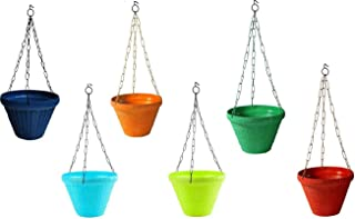 MB Traders Juhi Pot Plant Container Hanging Pots and Planter (9 Inch, Multicolour, Set of 6)