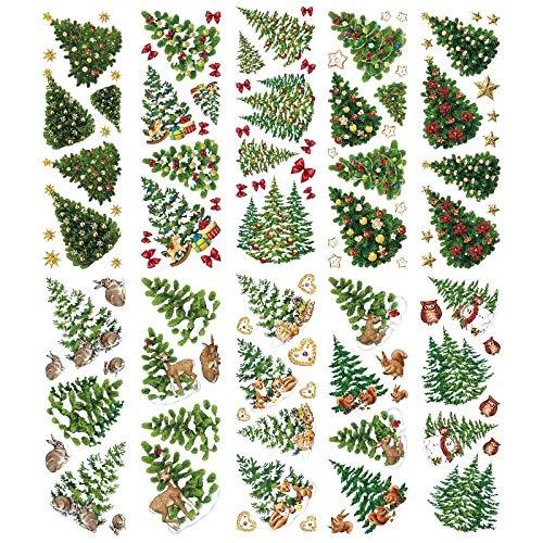 Transparent-Sticker, 10 Bogen à 10cm x 30cm   Bunte Aufkleber zum Basteln & Dekorieren (Tannen-/Weihnachtsbäume)