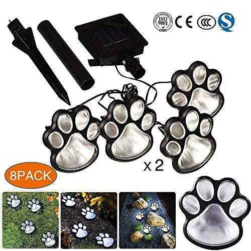 Caleb Paw Print Solar Gartenleuchten, 4Er Set Solarbetriebene LED-Leuchten - Hund Welpen Haustier Tier Pfoten Design Outdoor-Landschaft Beleuchtung Für Rasen-Dekor (2 Pack)