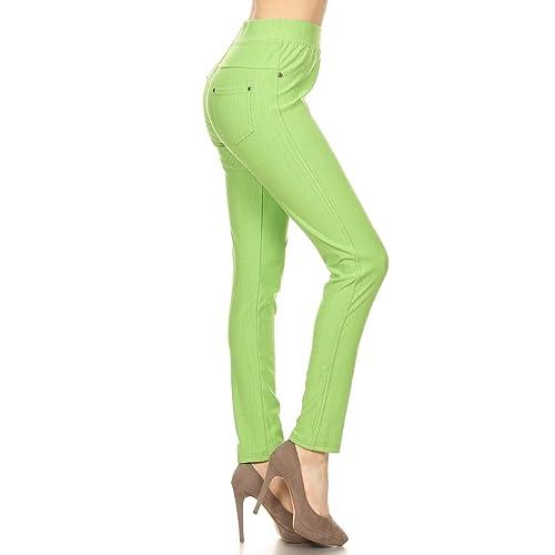 d38e7fcf26f Leggings Depot Premium Quality Jeggings Regular and Plus Soft Cotton Blend  Stretch Jean Leggings Pants w