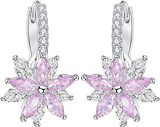 Women Fashion Earrings Lovely Romantic Flower Stone Shape Simple Cubic Copper Earrings