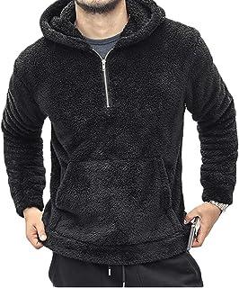 Mens Fluffy Hoodie Teddy Fleece Fuzzy Jumper Sweatshirt Zip Plush Warm Winter Outerwear Pullover With Kangaroo Pocket