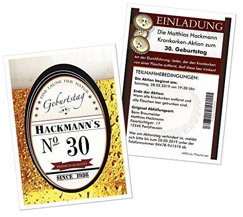 Geburtstagseinladungen für Erwachsene lustig witzig JEDES Alter - Wunschtext - Bier Kronkorken Aktion, 100 Stück DIN A5