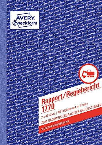 AVERY Zweckform 1770 Rapport/Regiebericht (A5, selbstdurchschreibend, von Rechtsexperten geprüft, für Deutschland und Österreich zur Dokumentation der Arbeitsleistung, 2x40 Blatt) weiß/gelb