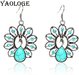 Harva YAOLAGE New Thai Silver Peacock Earring Mosaic Water Drops Explosive Models Vintage Statement Engagement Jewelry for Female Gift