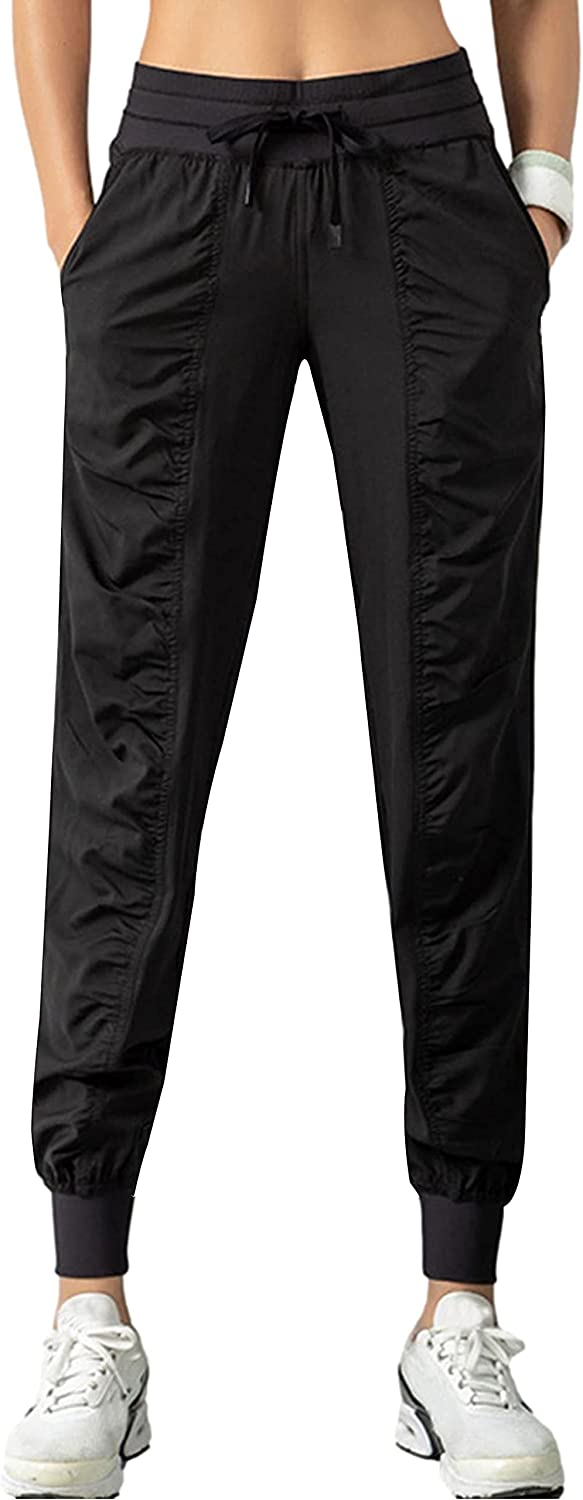 HangNiFang Women's Pleated Light Thin Quick Dry Tapered Cuffed Joggers Hiking Pants