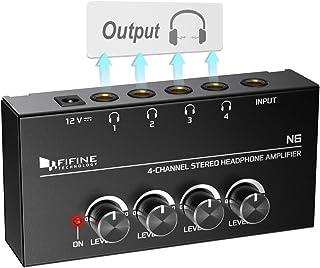 تقویت کننده هدفون FIFINE 4 کانال تقویت کننده صوتی استریو فلزی ، اسپلیت کوچک هدفون با آداپتور برق 4x چهارم اینچ خروجی هدفون TRS متعادل و خروجی صوتی TRS برای صدا میکسر-N6