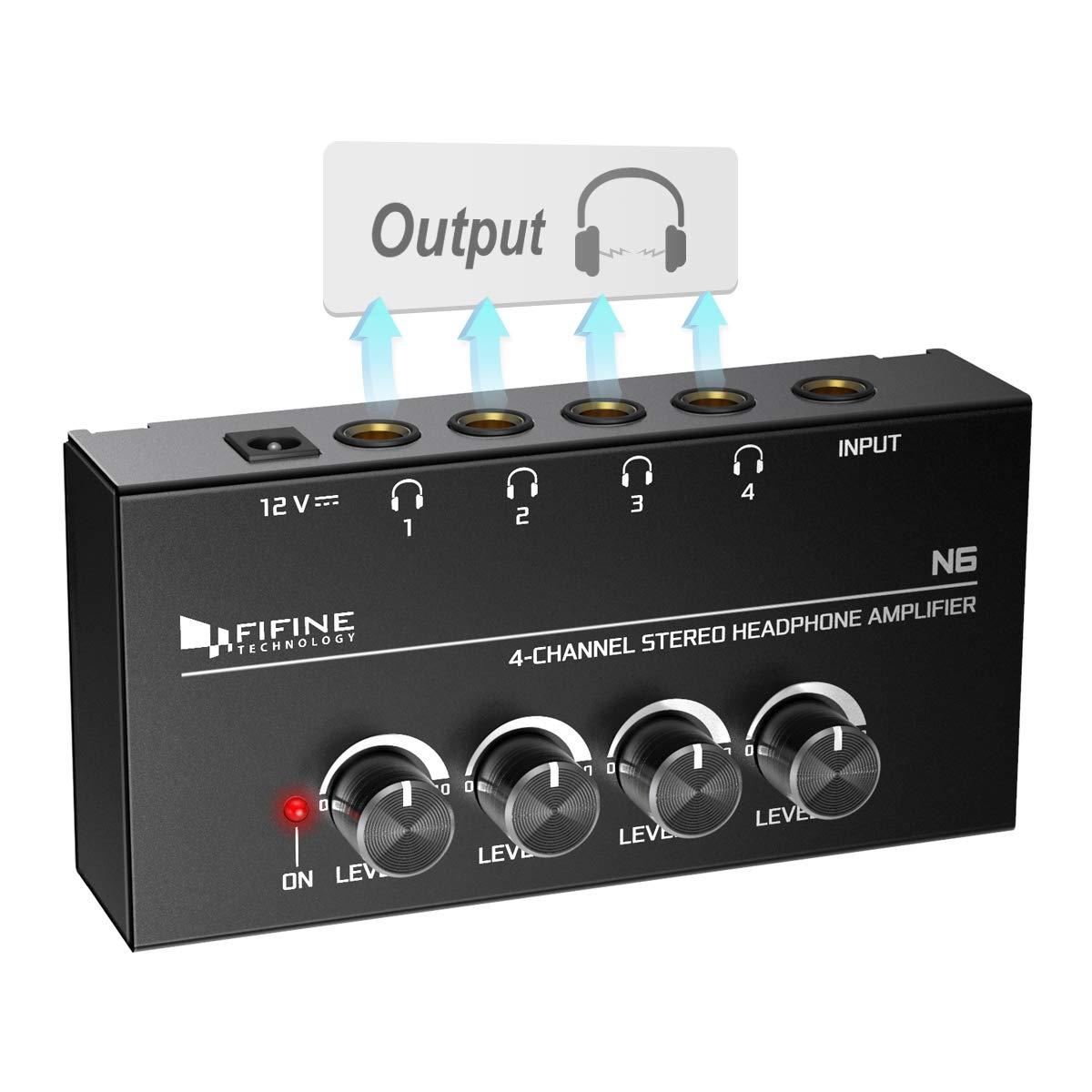 FIFINE Headphone Amplifier Adapter 4x Headphones