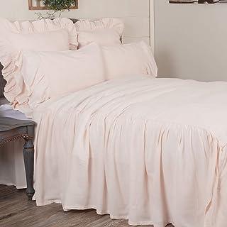 Piper Classics Annabelle Blush Ruffled Bedspread, Queen Size Coverlet, HIgh Skirt on 3 Sides, Light Pink, Lightweight, Vin...