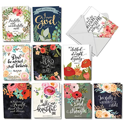 The Best Card Company - 20 All Occasion Note Cards (4 x 5.12 Inch) - Blank Boxed Set (10 Designs, 2 Each) - Praise Papers AM6635OCB-B2x10