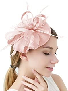 pink and blue fascinator