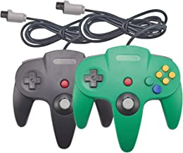 Joxde Wired Controller for N64, 2 Pack Retro Nintendo 64 Gaming Gamepad Joystick for N64 System Video Game Console(Black and Green1)