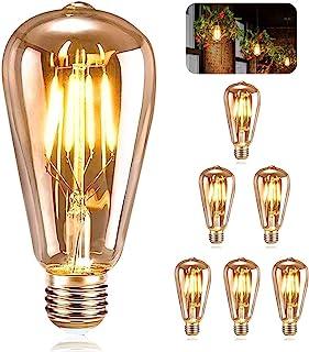 ASANMU Ampoule E27 Vintage, 6 Pièces Ampoule Edison LED E27 ST64 Lampe Décorative Rétro Edison Ampoule Vintage Antique Lam...