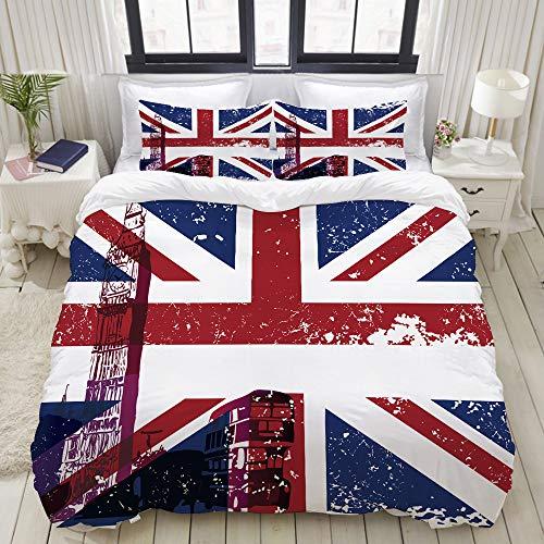 ZELXXXDA Bedding Juego de Funda de Edredón,Símbolos de Londres, Inglaterra, Reino Unido, Cabina telefónica roja Big Ben y la Bandera Nacional Union Jack,Funda de Nórdico y 2 Fundas de Almohada King