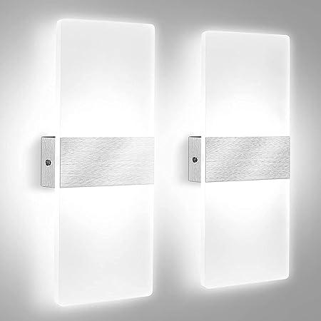 2Pcs Applique Murale Intérieure LED, Lovebay 12W Lampe Murale en Acrylique Blanc Froid 6000K, Modern Design Decor Luminaire Mural pour Salon, Chambre, Couloir, Salle Bain (Blanc Froid)