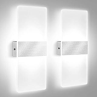 2Pcs Applique Murale Intérieure LED, Lovebay 12W Lampe Murale en Acrylique Blanc Froid 6000K, Modern Design Decor Luminair...
