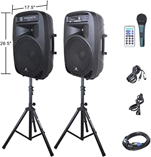 PRORECK PARTY 15 Portable 15-Inch 2000 Watt 2-Way Powered PA Speaker System Combo Set..