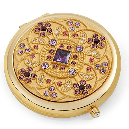 Friendship Gifts For Women / 24k Gold Electroplate Makeup Mirror by Jinvun: Luxury Round Vanity Mirror w/Diamonds/Sturdy Travel Purse Compact Cosmetic Mirror/Folding Magnifying Beauty Mirror