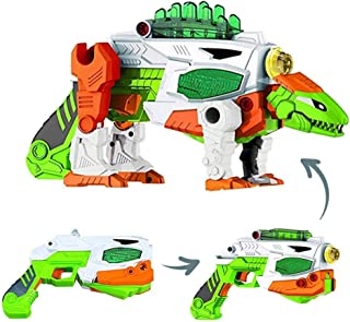 Build Me Take A Part 3 in 1 Dinoblaster Transforming Dinosaur and Toy Gun with Power Drill Toy for Construction with Lights and Sounds, Spinosaurus Dinosaur