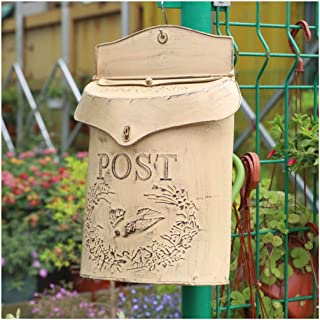 ALXLX Rustic Style Letter Post Box Shabby Chic Country Road Metal Bird Post Mailbox Vertical Wall Mount Architectural Letterboxes (Color : B)