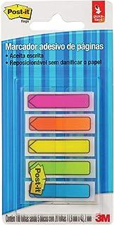 Marcador de Página Adesivo, Post-it® Flags Setas 5 Cores Neon, 11,9 mm x 43,2 mm, 100 folhas