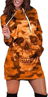 neveraway Women Camouflage Color Mid-Long Halloween Fall Winter Tshirt with Hood