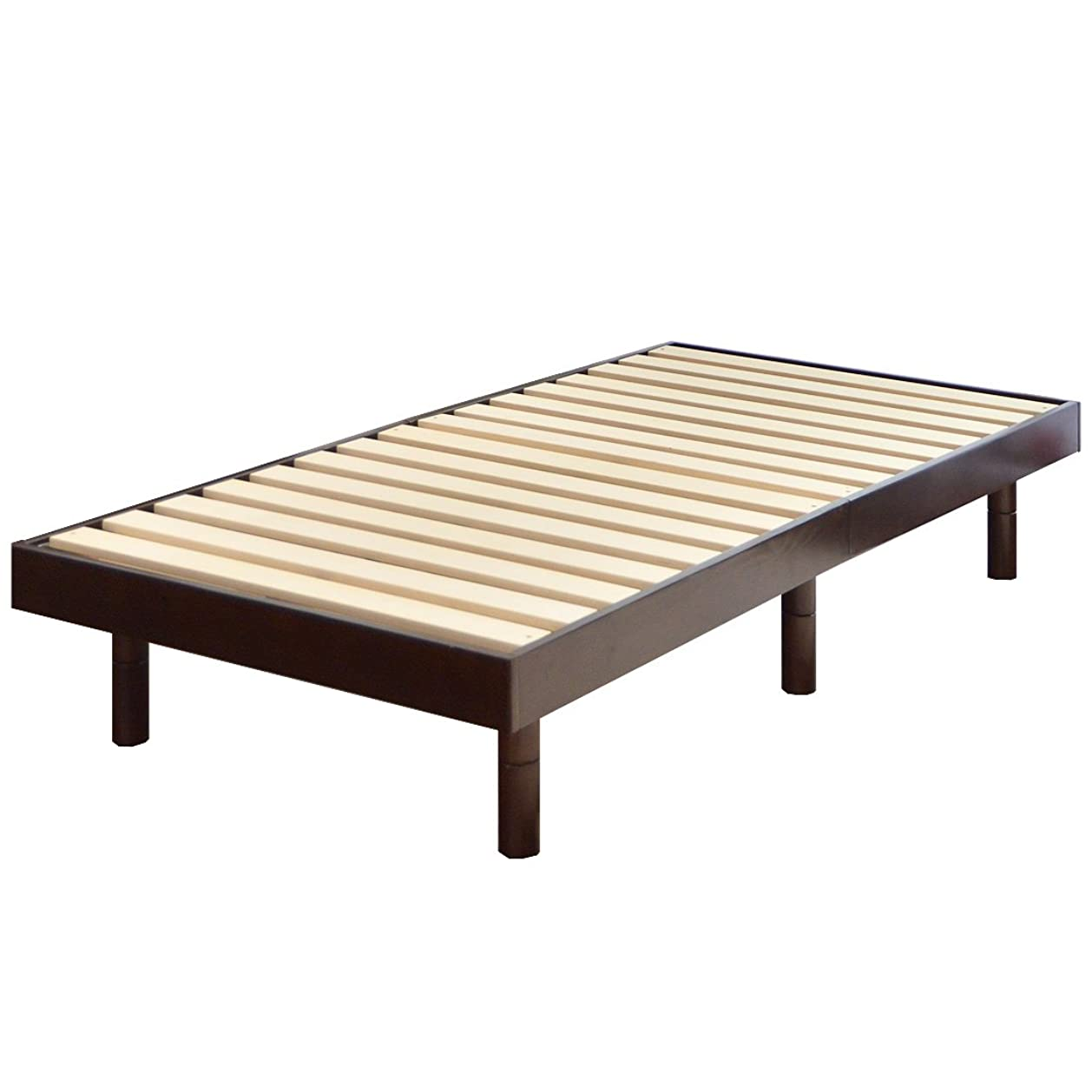他のバンドで石化するあさりタンスのゲン すのこベッド シングルベッド 天然木 3段階高さ調節 耐荷重:約200kg ブラウン 11719094 21AM 【63998】