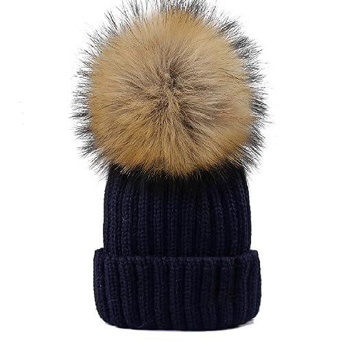 350350014c1 YANIBEST Adult Kids Knitted Winter Warm Beanie Bubble Pom Pom Hat for Women