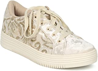 Alrisco Women Velvet Embroidered Lace Up Low Top Sneaker HF78