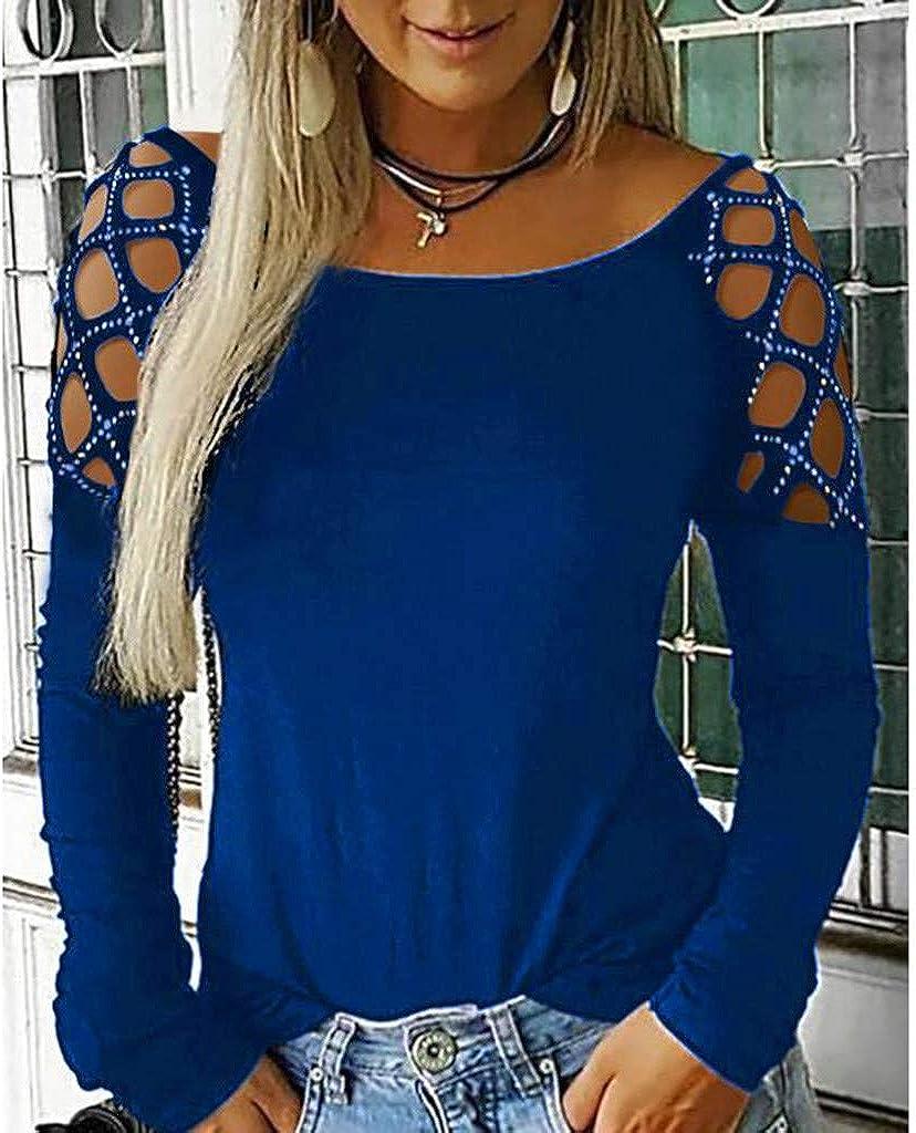 SHOBDW Mujeres Camisetas de Manga Larga Tallas Grandes Cuello en V sólido Camisa de Manga Larga Moda Casual Primavera Otoño Blusa Blusas Sueltas ...