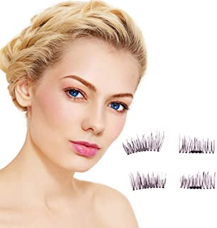 New Magnetic False Eyelashes, Natural Appearance Magnetic Eyelashes - no Glue Best Single Magnet Eyelashes Ultra-Thin Easy to wear 3D Reusable, Pure handlash Elastic (4PCS / Box)