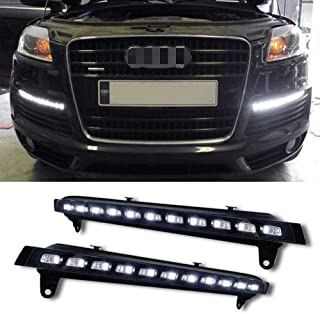 iJDMTOY Xenon White LED Daytime Running Lights For 2007-2009 Audi Q7 w/Amber LED Turn Signals, OEM Fit LED DRL Assy Powered by (11) White LED as DRL & (11) Amber LED as Turn Signals