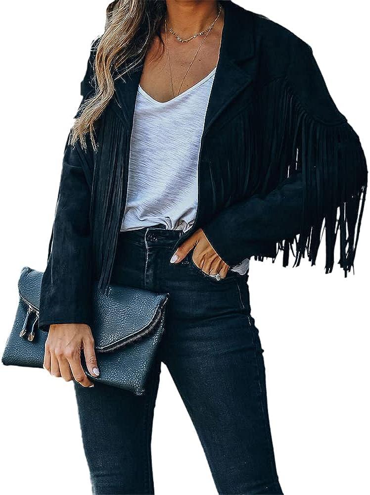 Women's Tassel Fringed Cropped Motor Biker Jacket Long Sleeve Leather Jacket Suede Leather Outwear