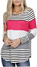 Womens Tops Fashion Color Block Stripe Casual O-Neck Long Sleeve Loose Pullover