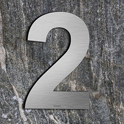 qoboob® Edelstahl Hausnummern 2 Zwei Straße Nummer Fein gebürstet Silber 200mm (1 Stück)
