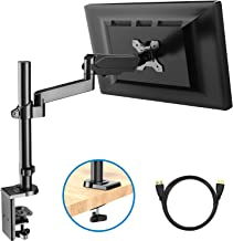 Monitor Mount Stand - Adjustable Single Arm Desk Vesa Mount with Clamp, Grommet Base, HDMI Cable for LCD LED Screens Up to 32 Inch, Gas Spring Articulating Full Motion Arm Holds 3.3 to 17.6Lbs