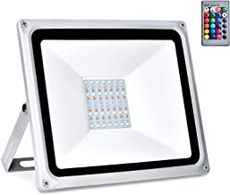 50W LED Floodlight RGB Outdoor Flood Light IP65 Waterproof Security Light with Remote Control Spotlights for wedding, banq...