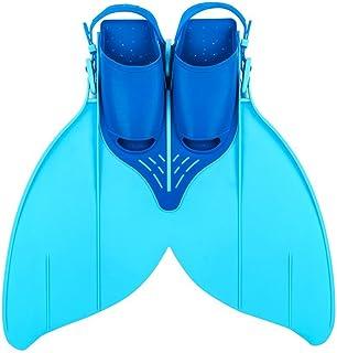 Aletas para niños o adolescentes, aletas de sirena, aletas monolíticas, aletas para nadar, aletas para el entrenamiento, talla 34 a 40, 215 mm a 240 mm, azul y amarillo