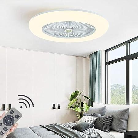 HYKISS LED Fan Plafonnier Moderne Nordique Dimmable Ventilateur Au Plafond avec Lampe Ultra-Mince Invisible 32W Lustre De Ventilateur Ultra Silencieux Chambre Salon Fan Lumière Éclairage(Ø55CM),Blanc